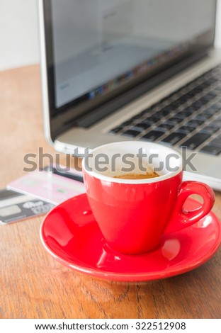 Coffee break on business work table, stock photo