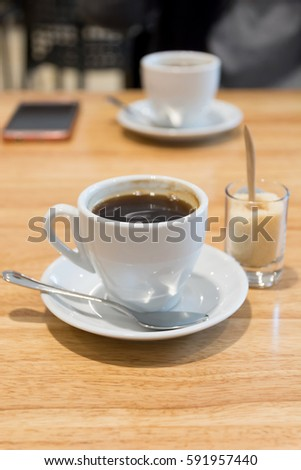coffee break on wood table,