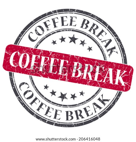 Coffee break red round grungy stamp isolated on white background - stock photo