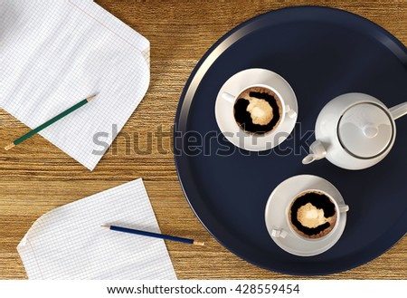 Coffee break served during business time, two cups of coffee and coffee pot in blue metal plate served on table during business or study time, time for coffee break conceptual image, 3D rendering - stock photo