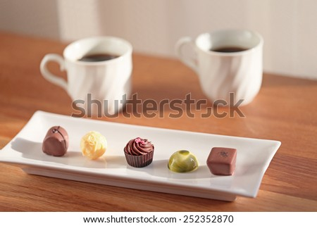 Coffee break with Chocolate - stock photo