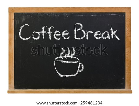 Coffee break with cup written in white chalk on a black chalkboard isolated on white - stock photo