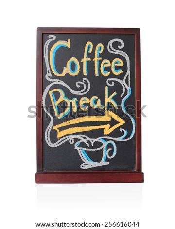 Coffee break written on chalkboard isolated object - stock photo
