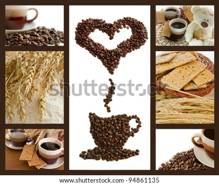 Coffee breakfast background with wheat, cookies and flour - stock photo