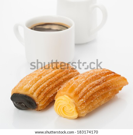 coffee breakfast with hotcakes stuffed on white background