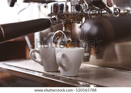 coffee brewing in a professional machine