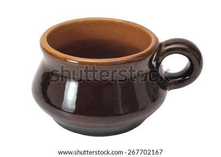 coffee brown ceramic cup isolated on a white background