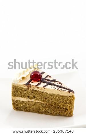 Coffee cake slice on white background.  - stock photo