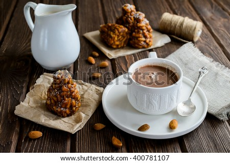 Coffee cakes on a wood background, front view