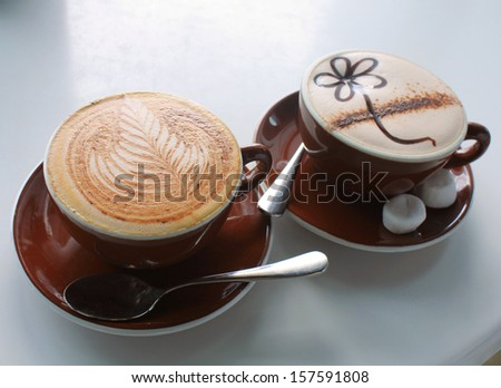 Coffee cappuccino and hot chocolate in cafe - stock photo