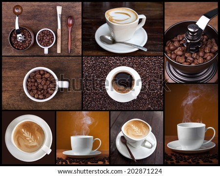 Coffee, cappuccino, latte, and roasted beans. Coffee concept.  - stock photo