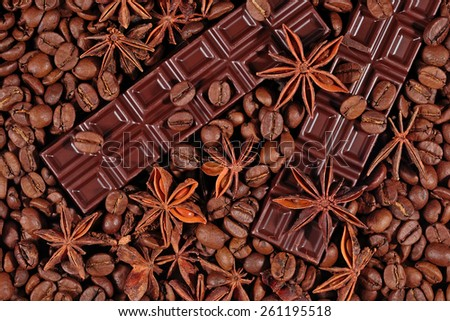 Coffee, chocolate and star anise background  - stock photo