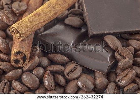 coffee, chocolate and vanilla as essence of taste and pleasure
