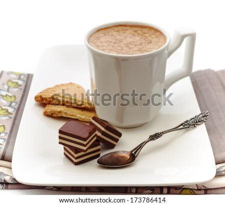 """Coffee, chocolate candies and shortbread """"Petticoat Tails"""" - stock photo"""