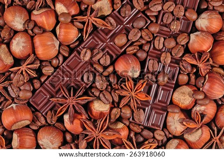 Coffee, chocolate, star anise and hazelnuts  - stock photo