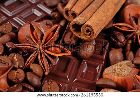 Coffee, chocolate, star anise, cinnamon sticks and hazelnuts background - stock photo