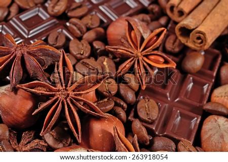 Coffee, chocolate, star anise, hazelnuts and cinnamon sticks - stock photo