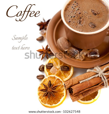 Coffee, cinnamon, brown sugar and star anise on white background (with sample text) - stock photo