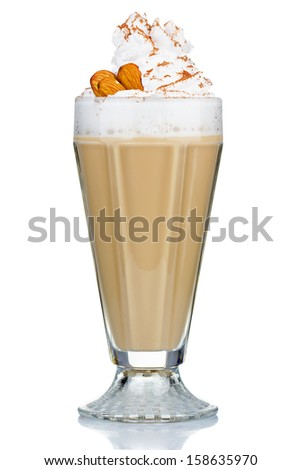 Coffee cocktail with cream and almonds isolated on white background - stock photo
