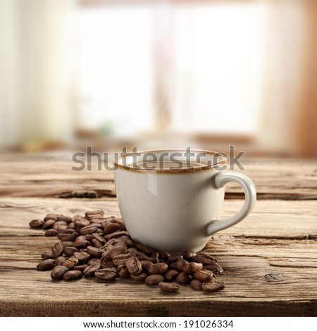 coffee coffee beans and coffee cup  - stock photo