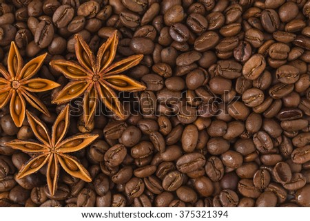 Coffee, coffee beans, food, flavor, brown beans, wood background, spices, star anise, star, enjoy, good times, beverages, characteristics,black, black, breakfast, breakfast, coffee color,  - stock photo