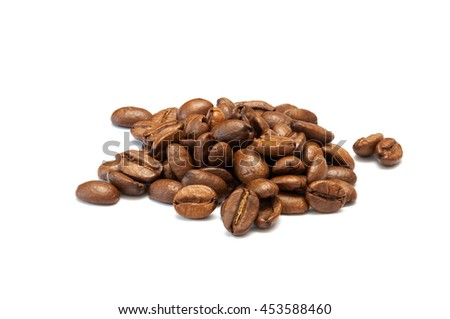 coffee, coffee beans, roasted coffee, roasted coffee beans, coffee beans isolated in white background, coffee beans close up, coffee beans cut out - stock photo