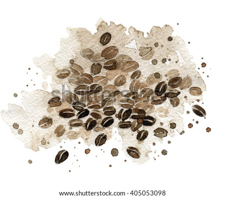 Coffee. Coffee grains. Hand drawn watercolor illustration. Coffee with watercolor splashes, stains. Watercolor painting on white background. - stock photo