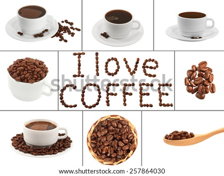 Coffee collage. Coffee beans and coffee cups on a white background isolated