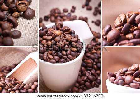 Coffee Collage. Collage of coffee details. coffee beans and coffeecup. - stock photo