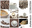 Coffee collage- collection of nine images with coffee. - stock photo