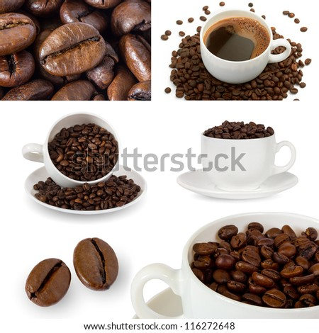 coffee collage made of cups, beans, hot coffee - stock photo