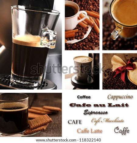 Coffee collage - menu - stock photo
