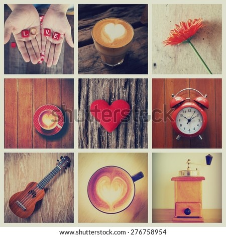 coffee collage vintage color tone style - stock photo