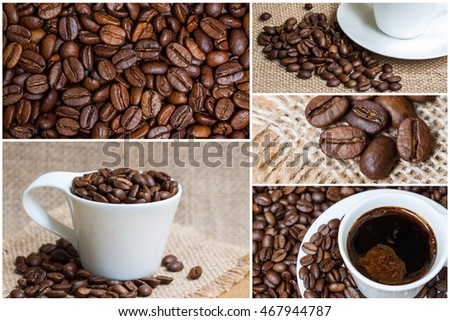 Coffee collage wallpaper, mockup for tissues, napkins, kitchen tableware