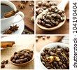Coffee Collage with Cinnamon Sticks - stock photo