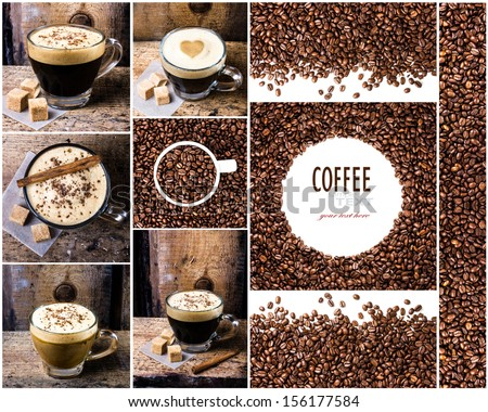 Coffee collage with Coffee espresso, cappuccino, latte, mocha and coffee beans. Food set of cap with coffee. Coffee concept. - stock photo