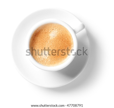 Coffee collection - Cappuccino cup. Isolated on white background - stock photo