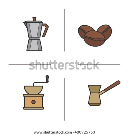 Coffee color icons set. Classic coffee maker, Turkish cezve, roasted coffee beans and vintage grinder symbols. Coffee brewing moka machine. Logo concepts. Raster isolated illustrations