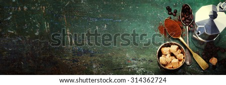Coffee composition on dark background - stock photo
