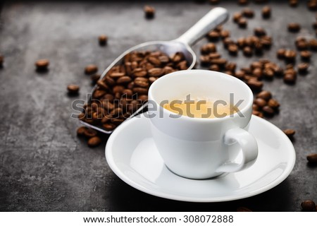 Coffee composition on dark rustic background - stock photo