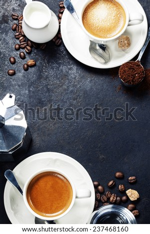 Coffee composition on dark rustic background. Coffee frame - stock photo