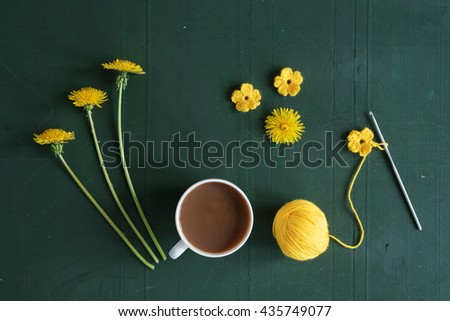 Coffee, crocheting and dandelions