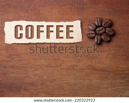Coffee crop beans with paper and text on wood texture background