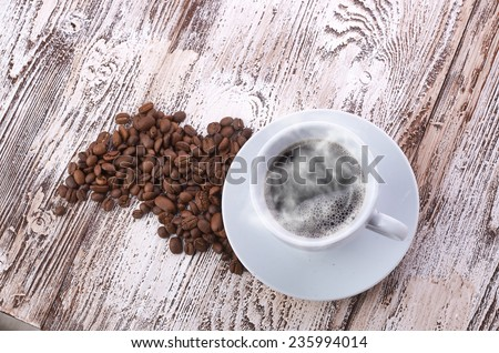 coffee cup and beans - stock photo