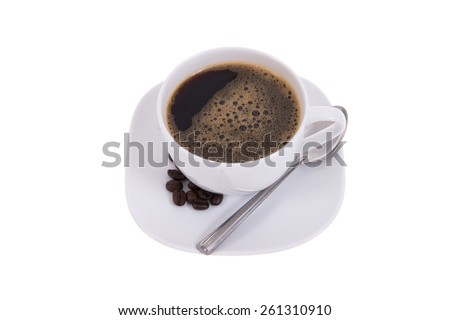 Coffee cup and beans isolated on white background