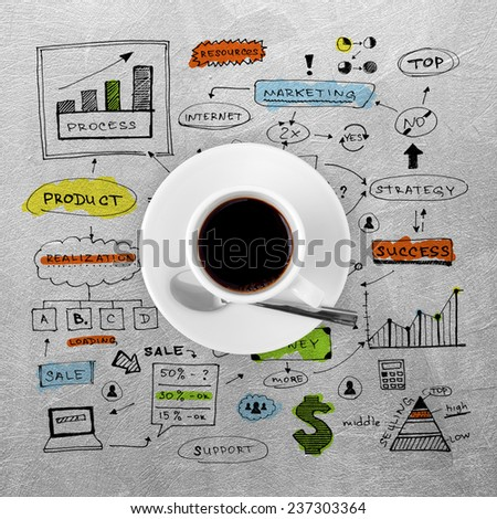 coffee cup and colorized business strategy - stock photo