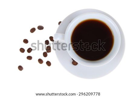 Coffee cup and grains on a white background