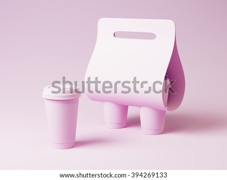 Coffee cup and holder mockup. Pink color