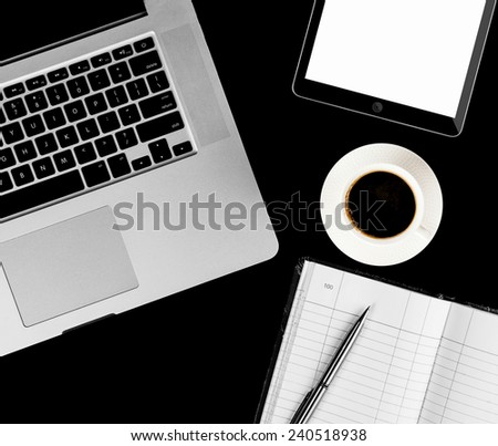 Coffee cup and laptop for business. top view - stock photo