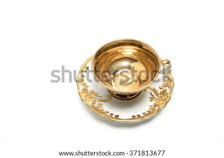 Coffee cup and pralines on a white background decorative art style with golden handle set